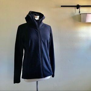 Athleta Black Hooded Jacket Sweatshirt Large